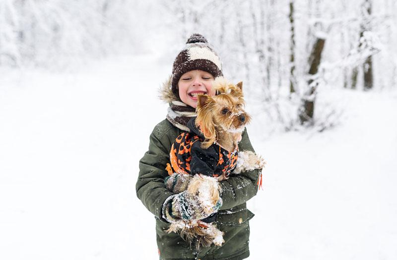Little boy and small dog in winter park.