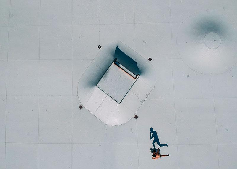 trendy photography - skatepark from above aerial view shadows