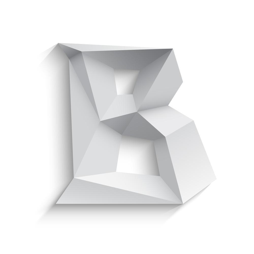 Vector illustration of 3d letter B on white background.