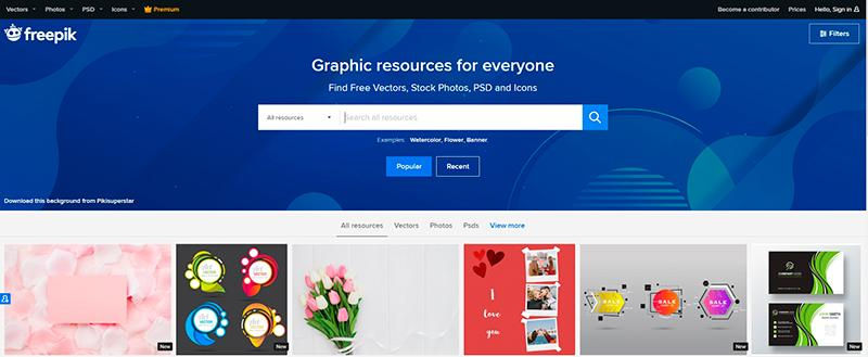 Freepik. One of the best free online graphic design tools for icons
