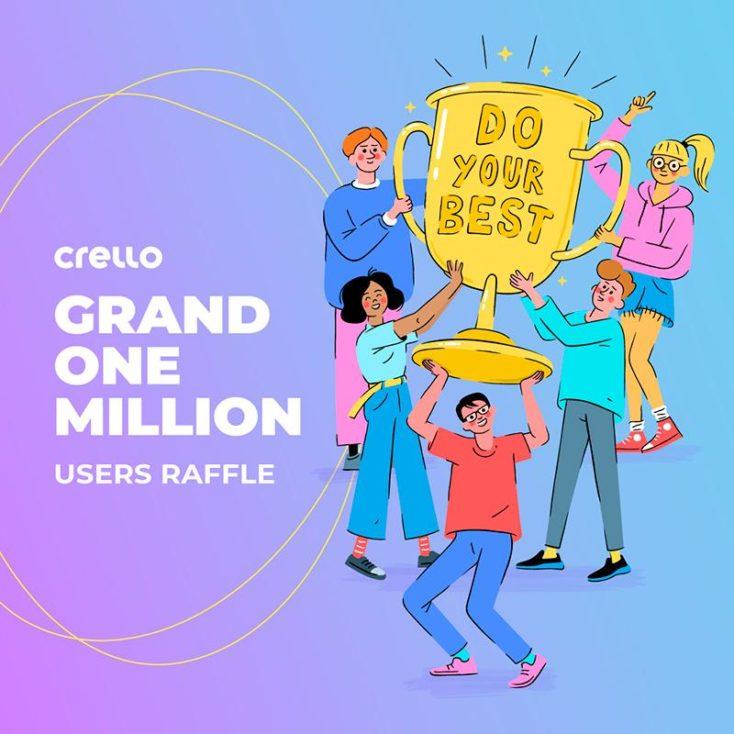 Crello celebrates 1 million users with a raffle