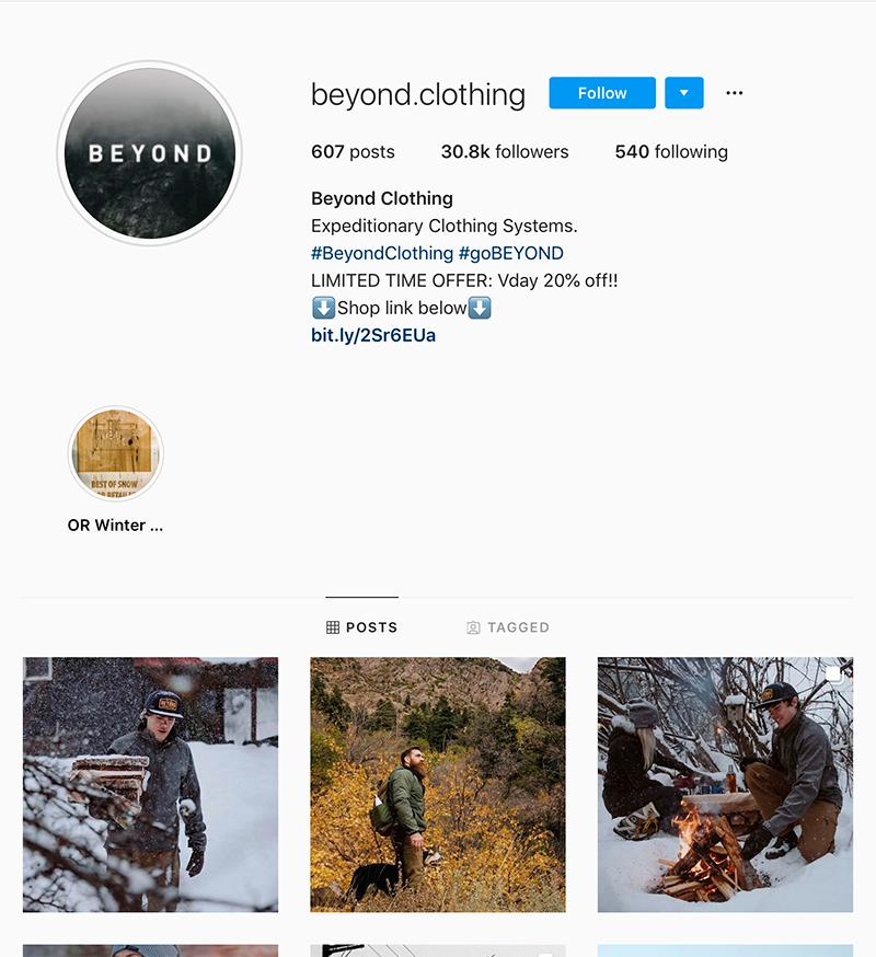 beyond clothing instagram page