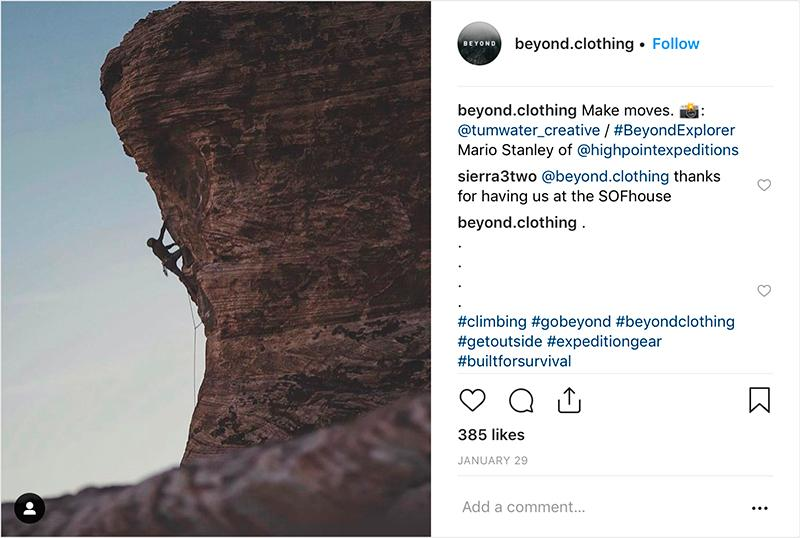 beyond clothing instagram post