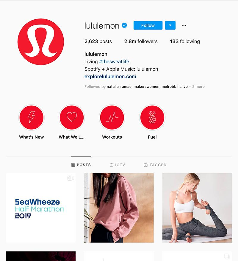 lululemon instagram account