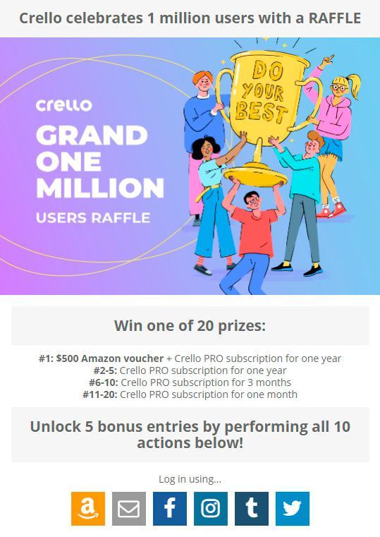 participate in crello's raffel to win prizes