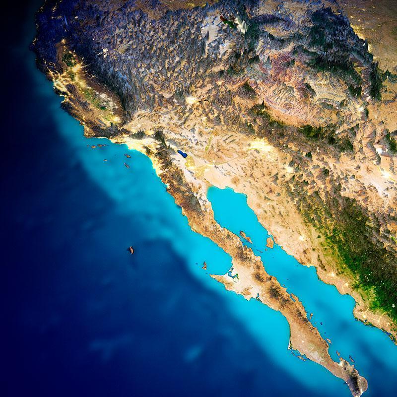 California and Pacific Mexico coast