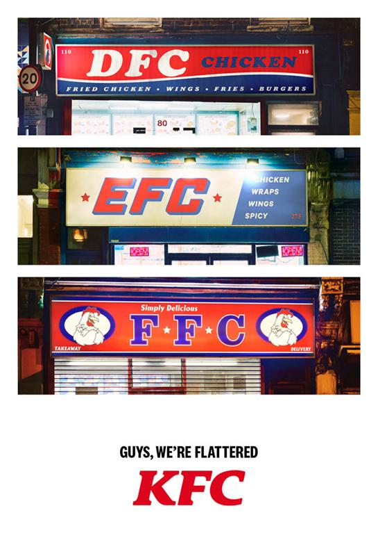 KFC 'We're Flattered' advertising campaign from Mother London