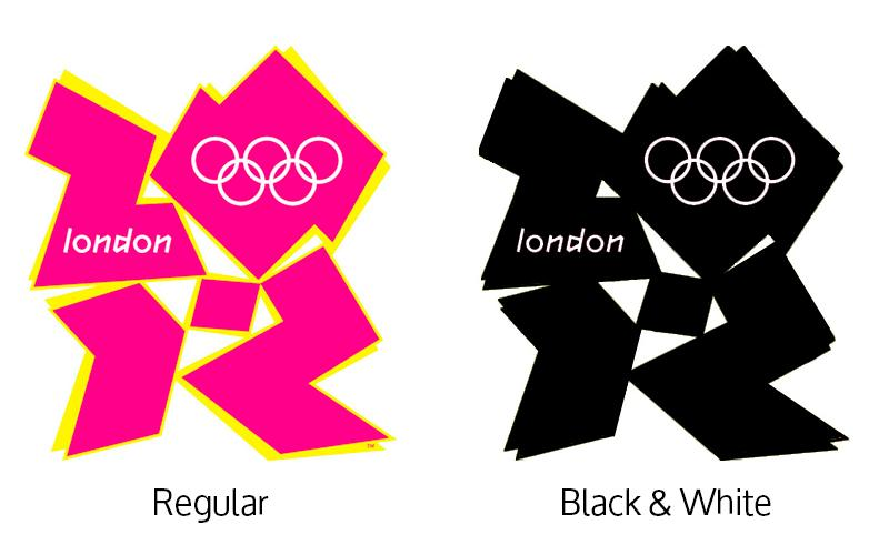 London 2012 Olympics logo in regular and Black & White color applications