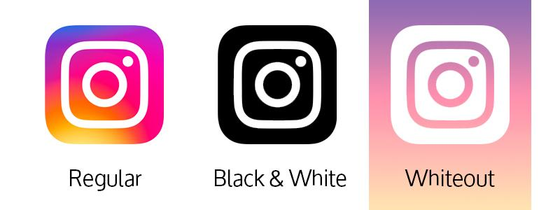 Instagram logo in regular, Black & White, and Whiteout applications