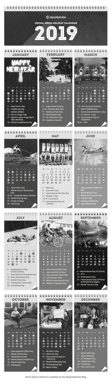 social media calendar 2019 retro photos edition