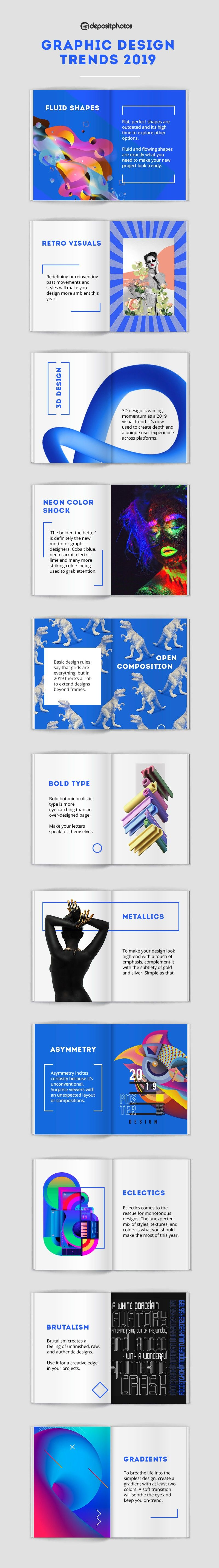 graphic design trends 2019 infographic by Depositphotos