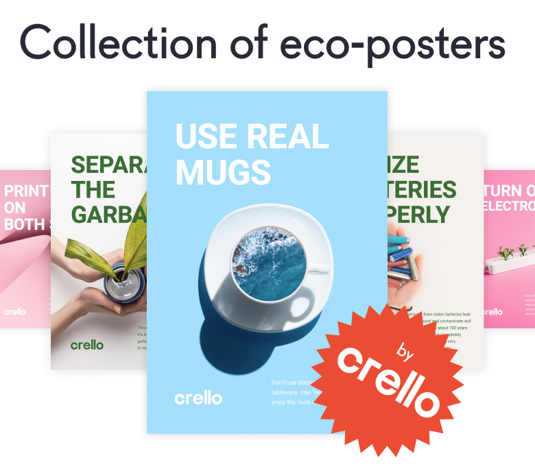 Series of eco-posters for the Crello template collection