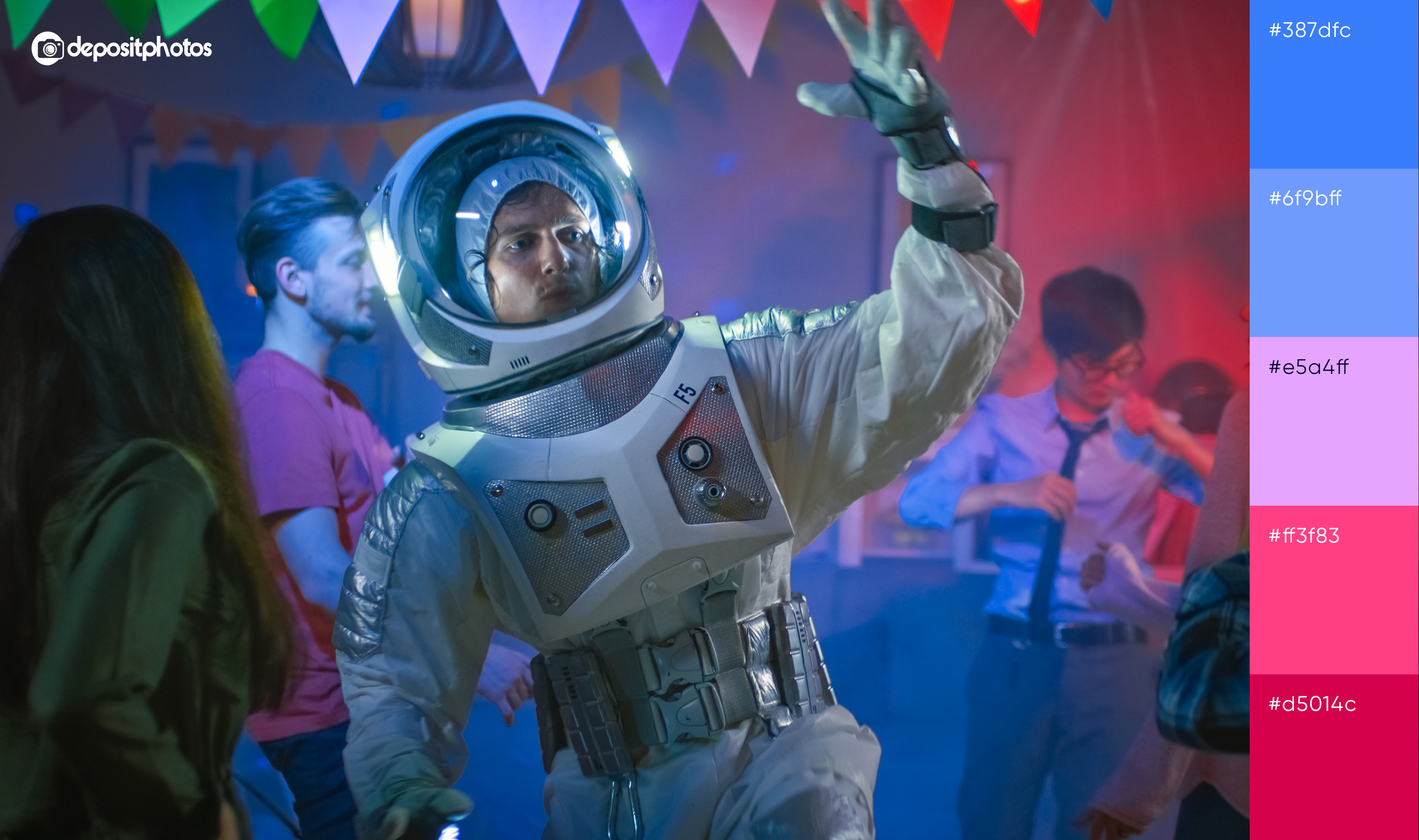 man partying in spacesuit