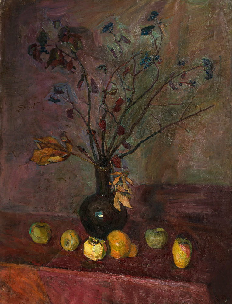 apples and flowers painting