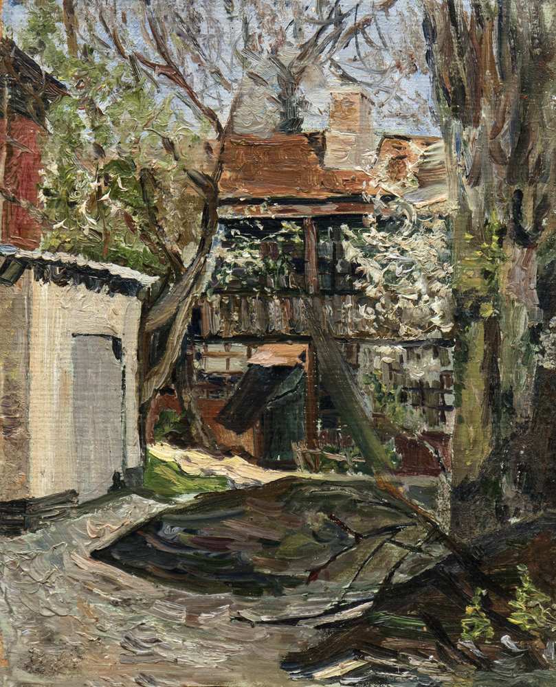 courtyard oil painting