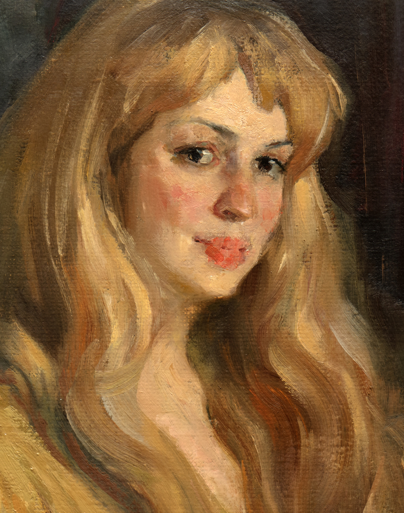 young woman oil painting