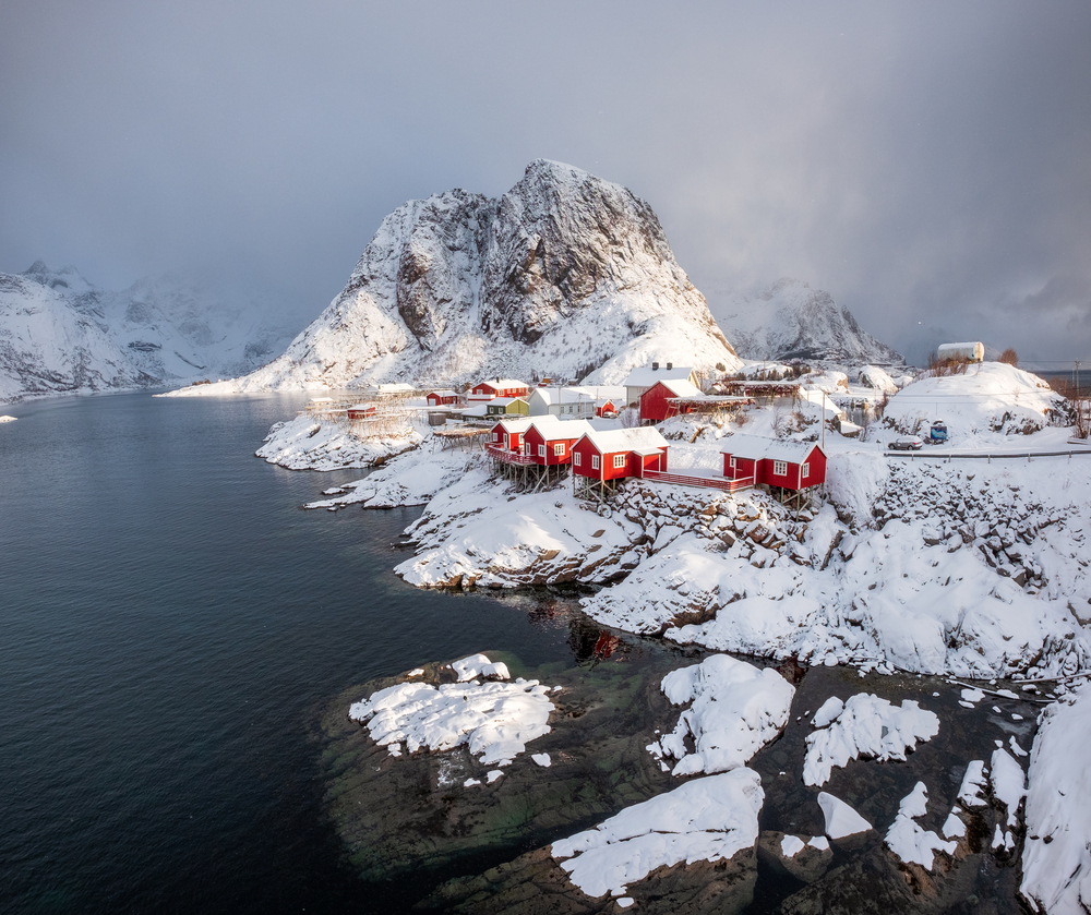fishing village in snowfall