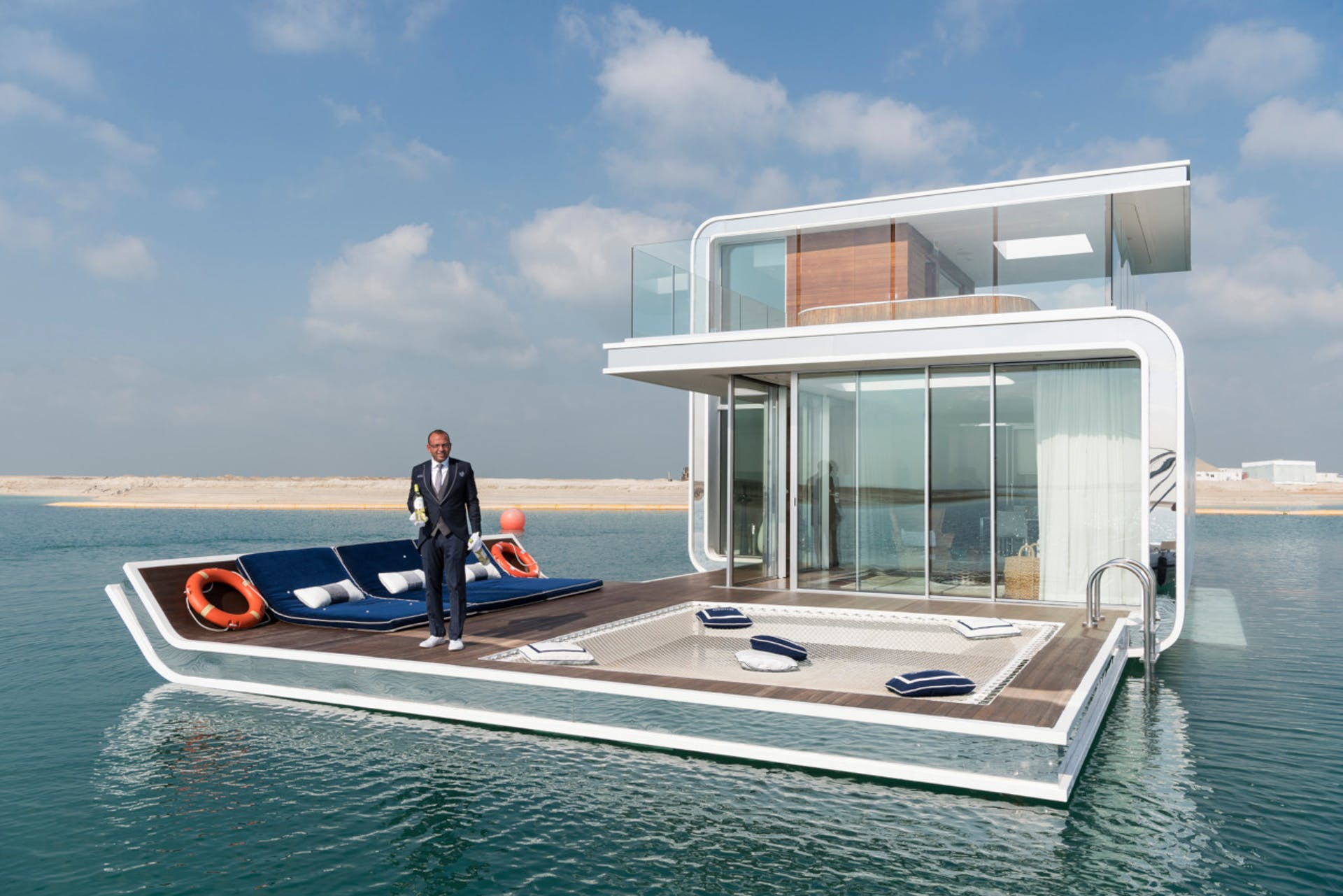 floating house and man