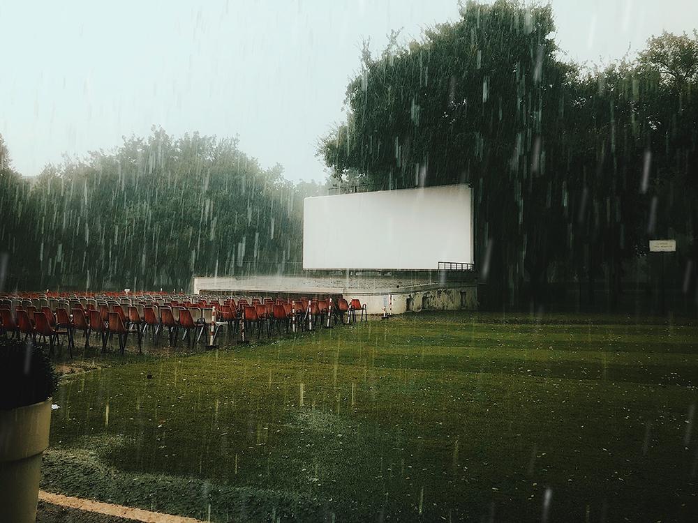 house in the rain