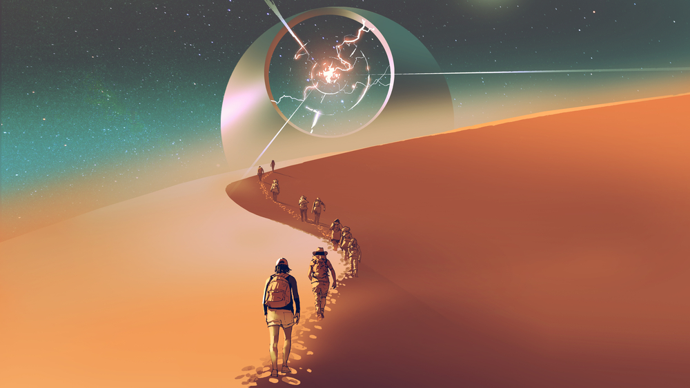 people walking through a desert