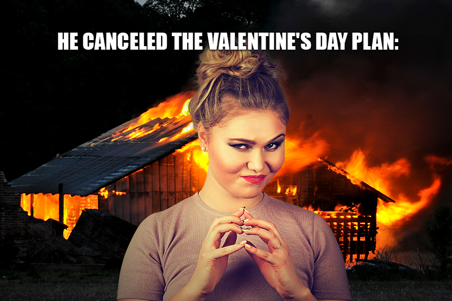 He canceled the Valentine's Day plan: