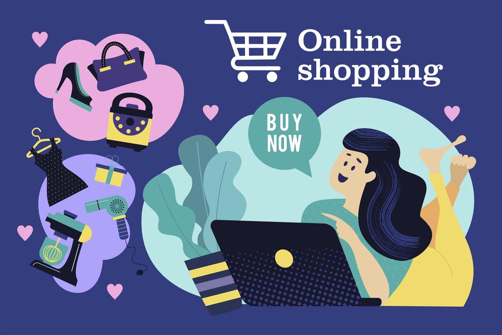 Online shopping. Vector illustration.