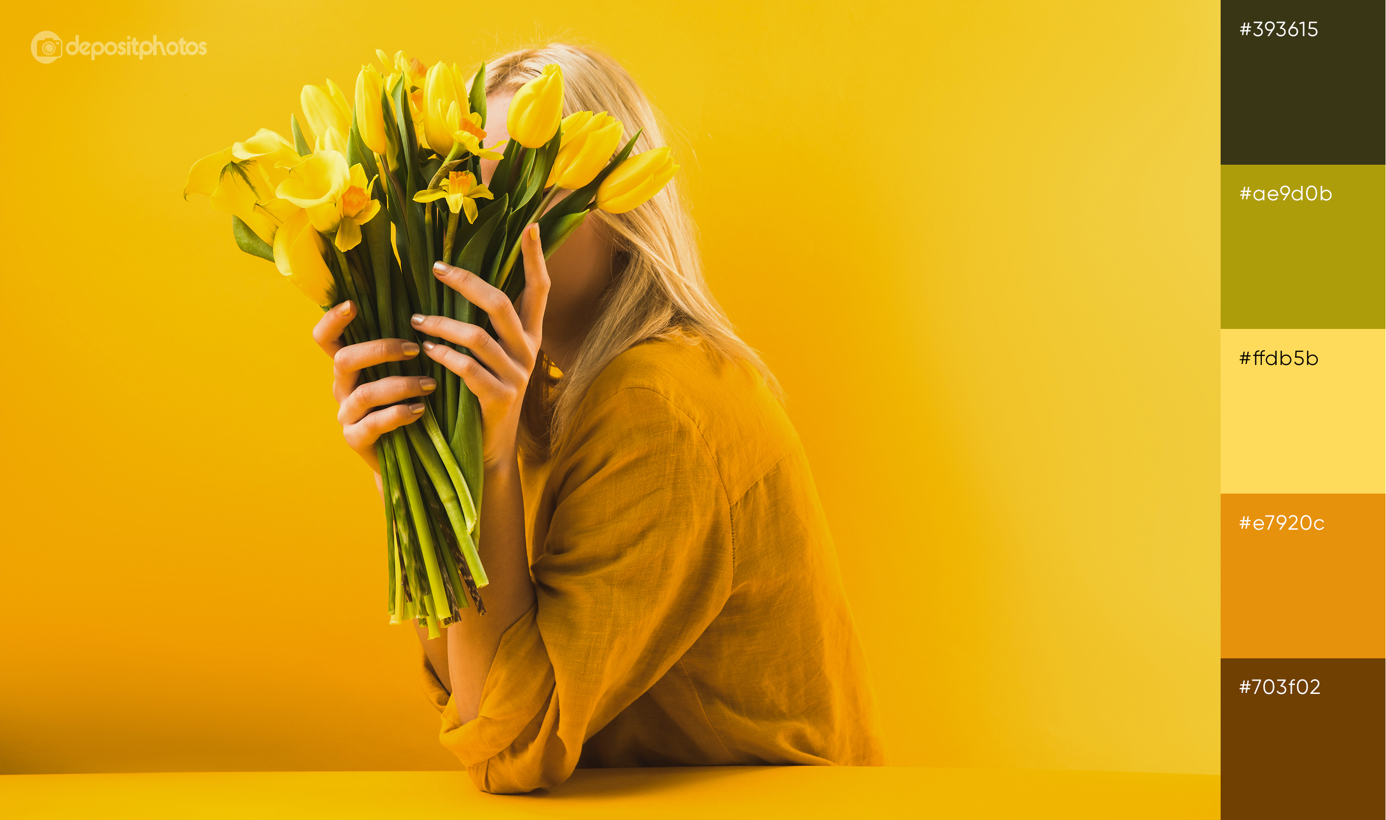 photo of woman with tulips