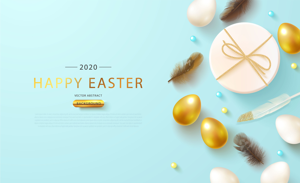 Happy Easter greeting web banner.