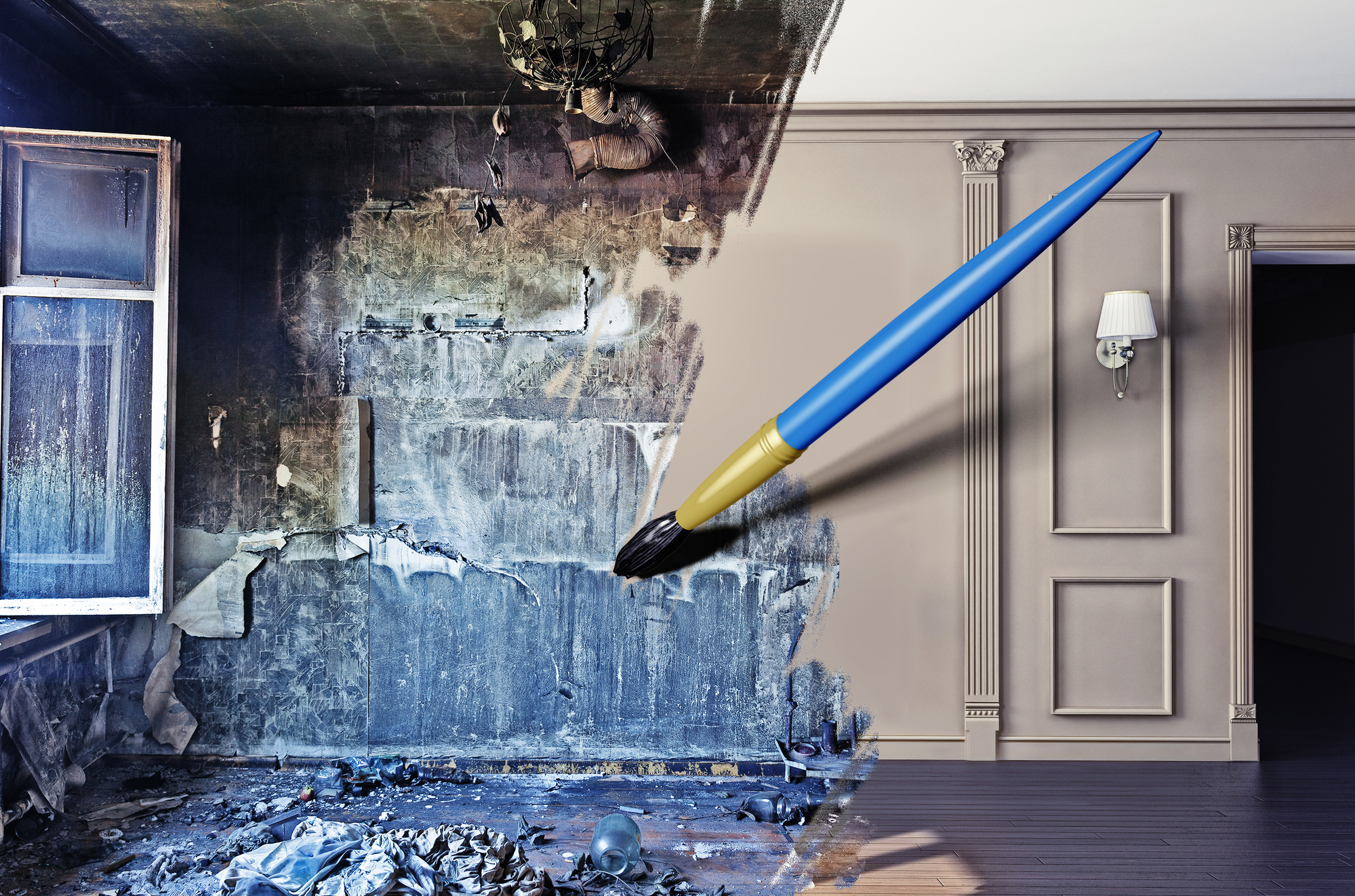 drawing beautiful interior over dirty image.