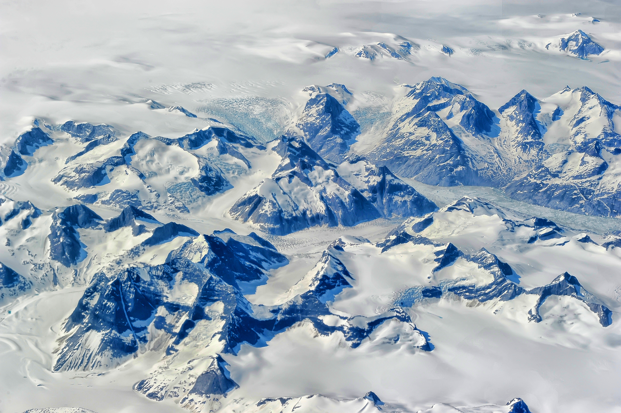 aerial shot of snowy mountains