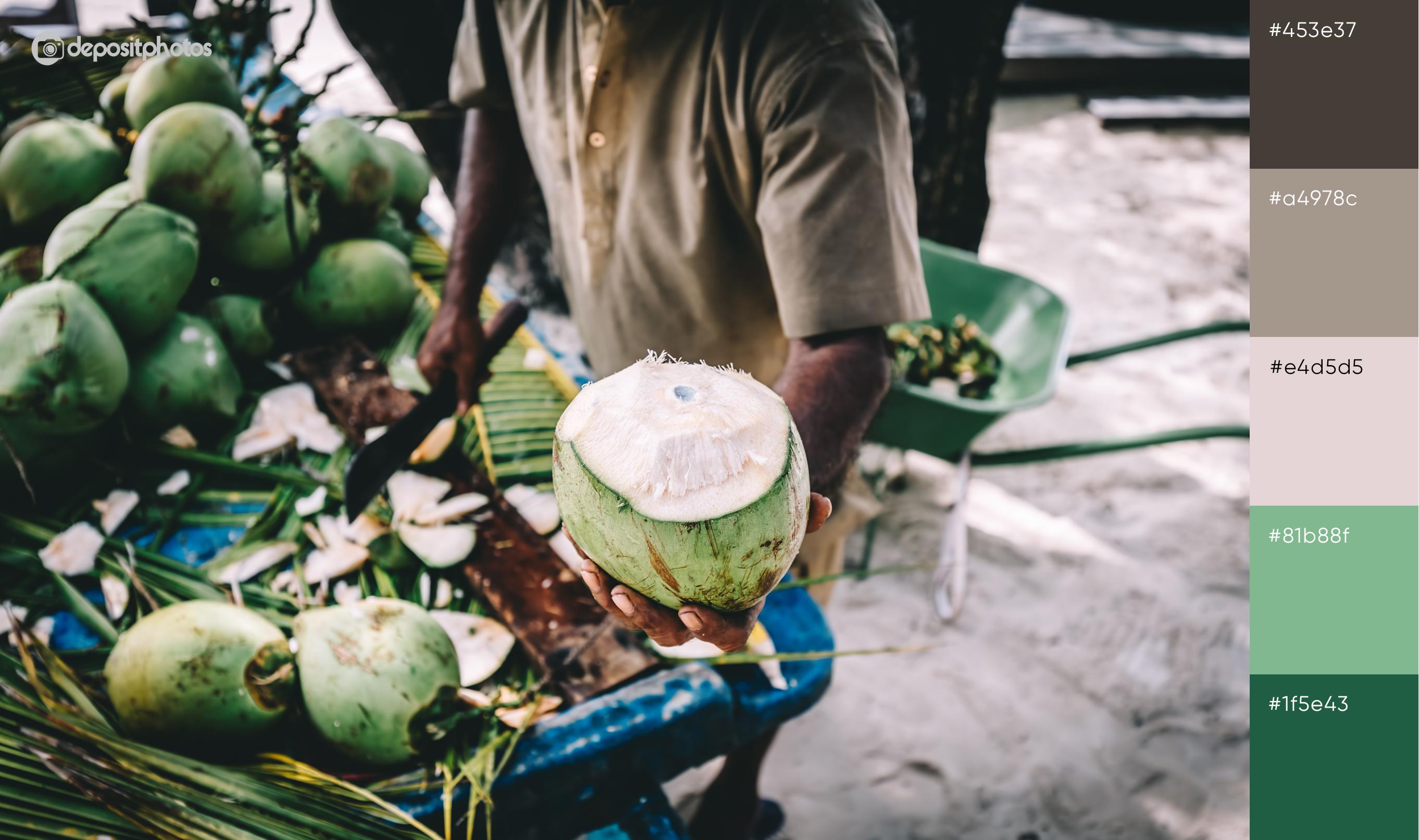 stock image man holding fresh cocunut