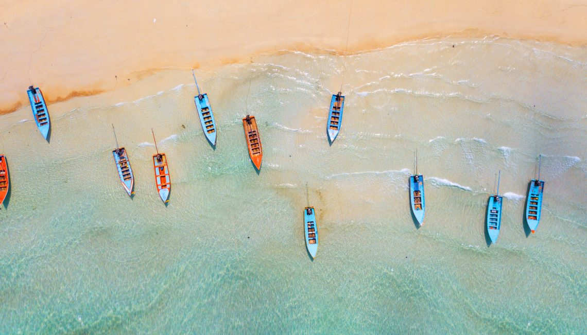 Aerial: Shoreline with fishing boats