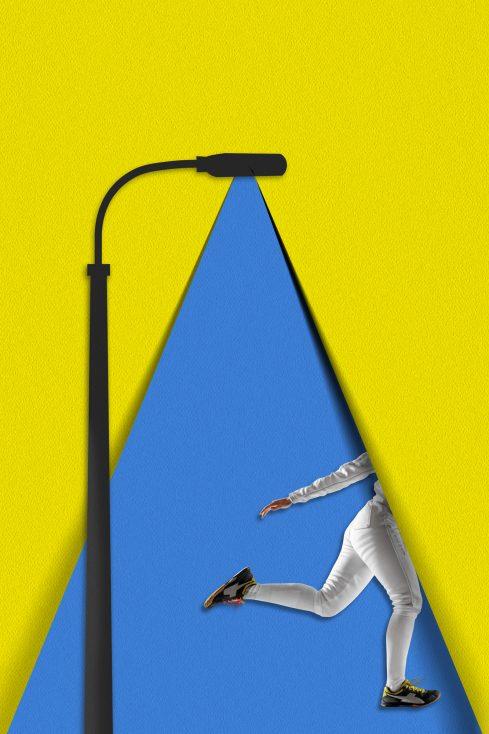 Running woman poster stock image