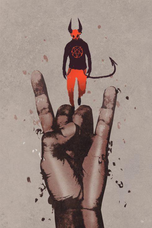 big hand in devil horns sign with devil stock illustration