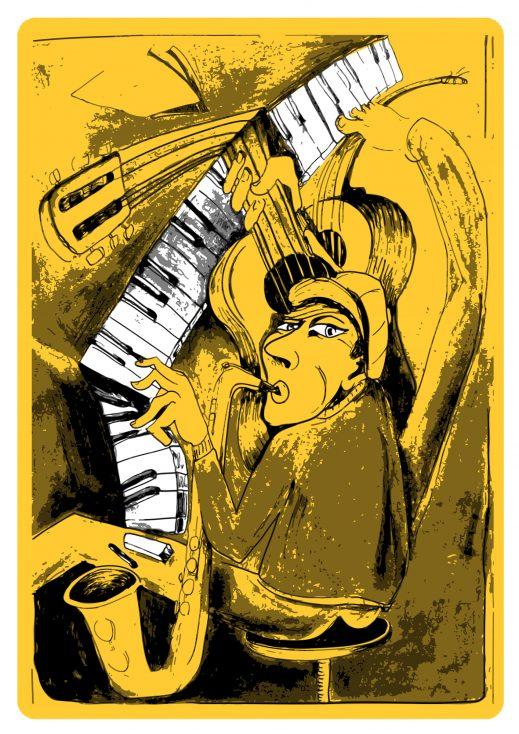 stock image poster yellow illustration