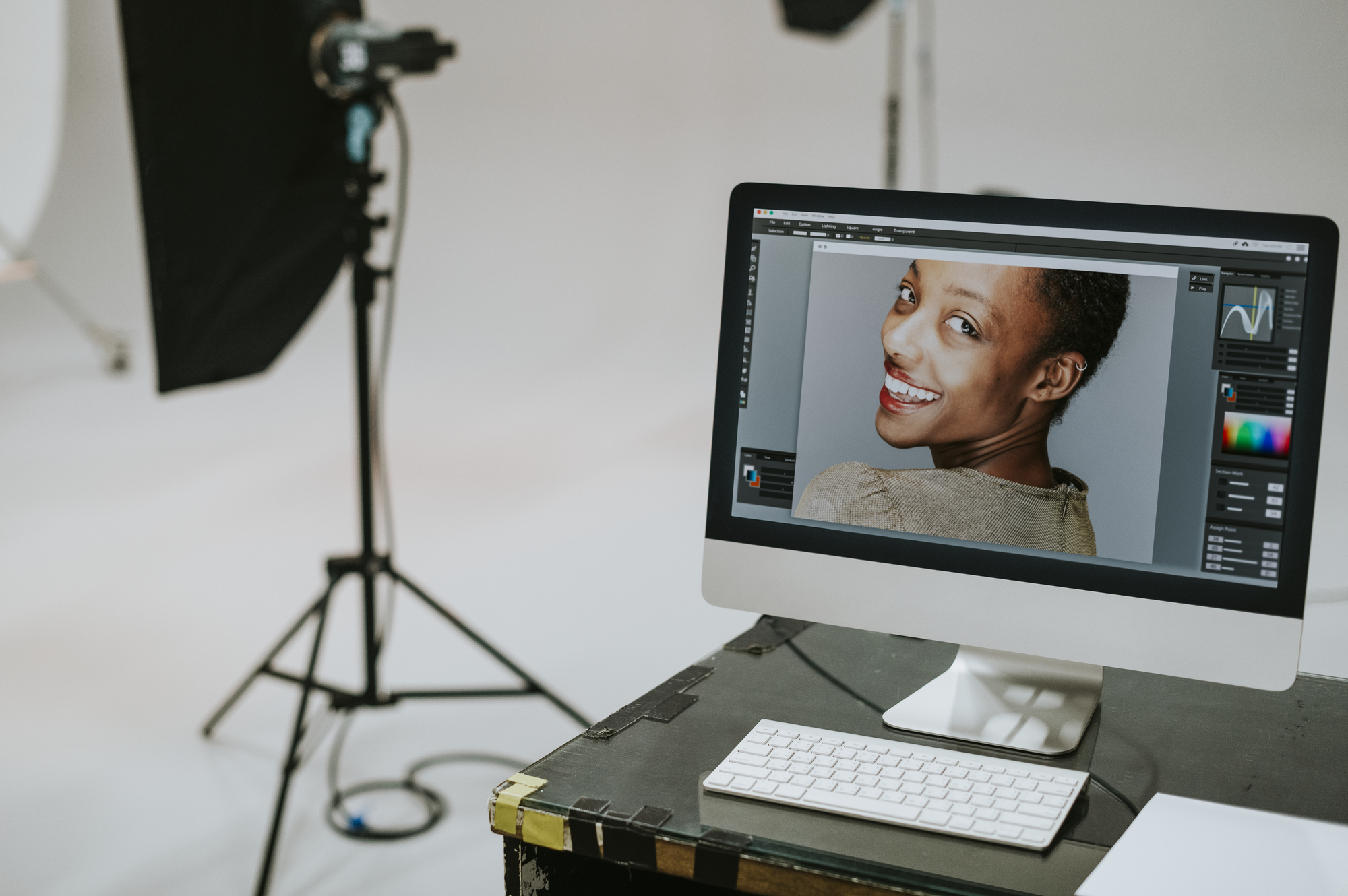Female model on a computer screen stock photo