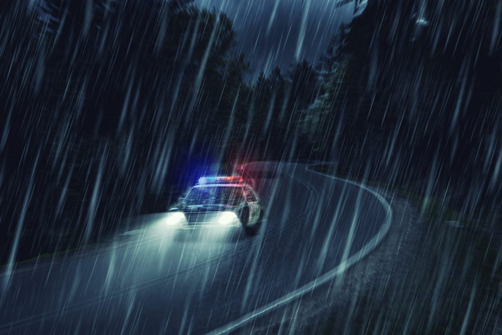 USA police car at work at night stock photo