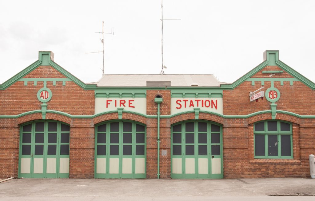 Retro fire station stock photo