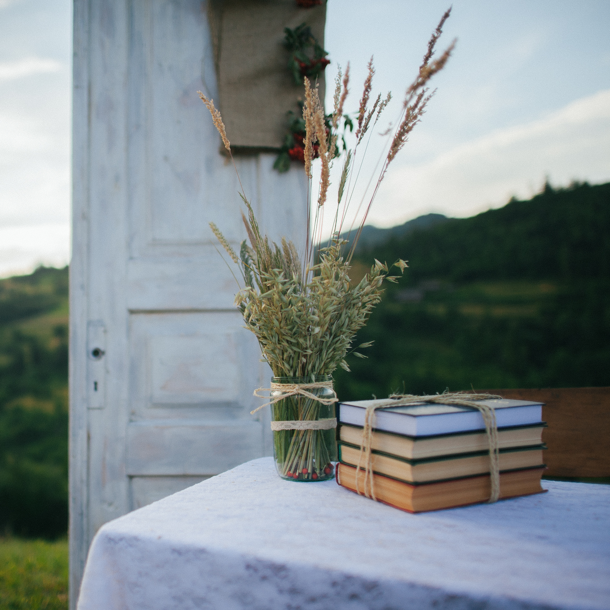 stock photo still life books and flowers summer