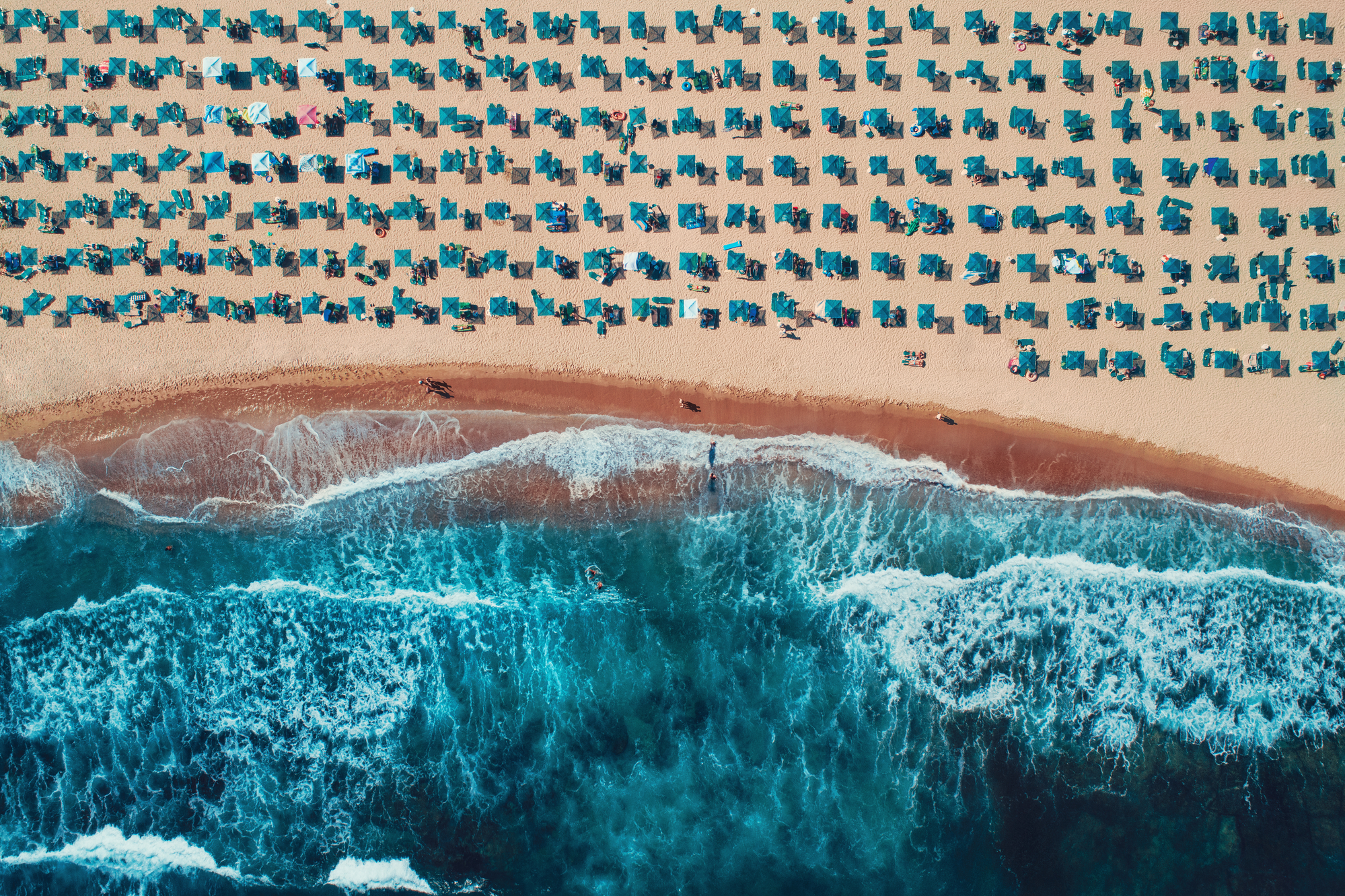 Aerial top view on the beach.