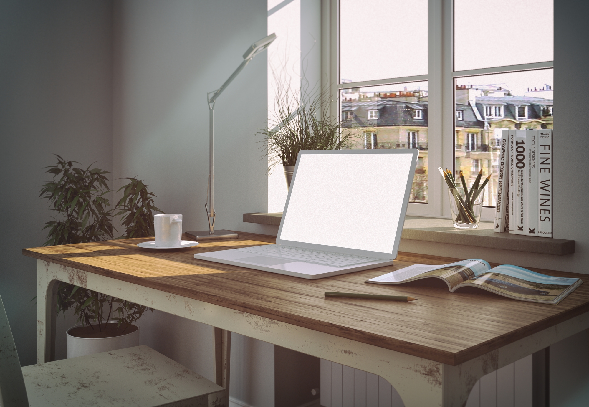 Modern white home office interior design stock image