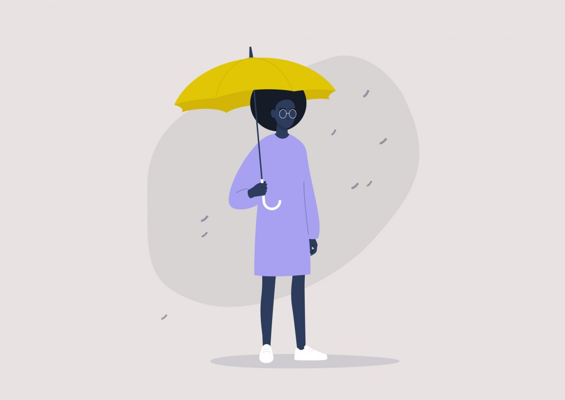 stock illustration young black female character holding a yellow umbrella