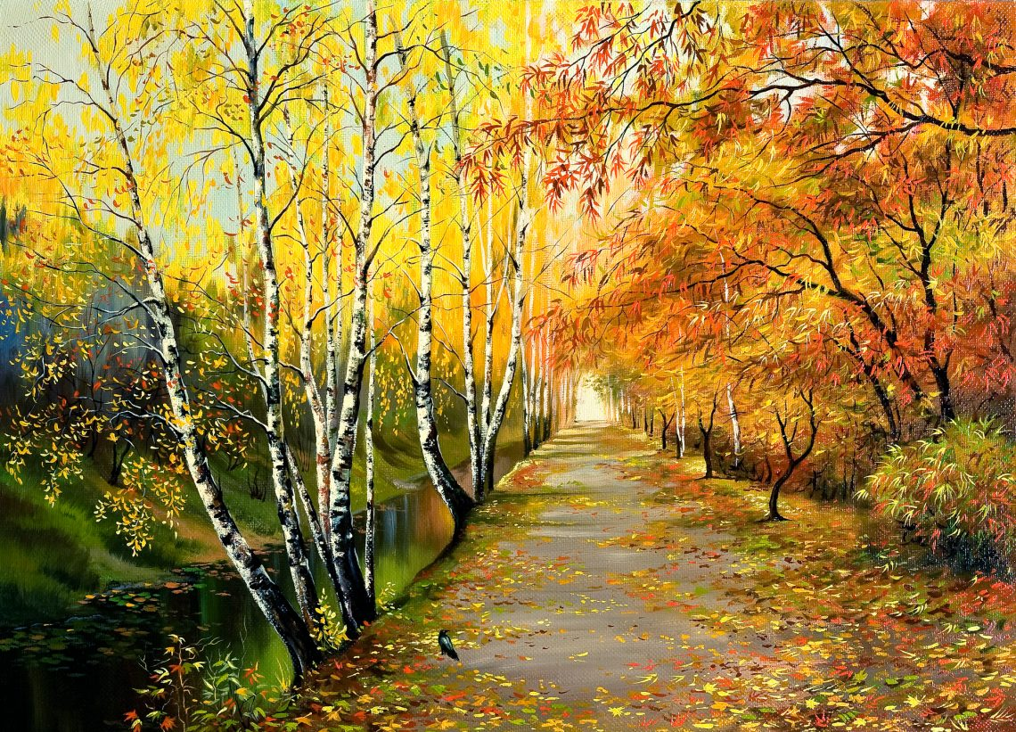 stock illustration Autumn road along the channel