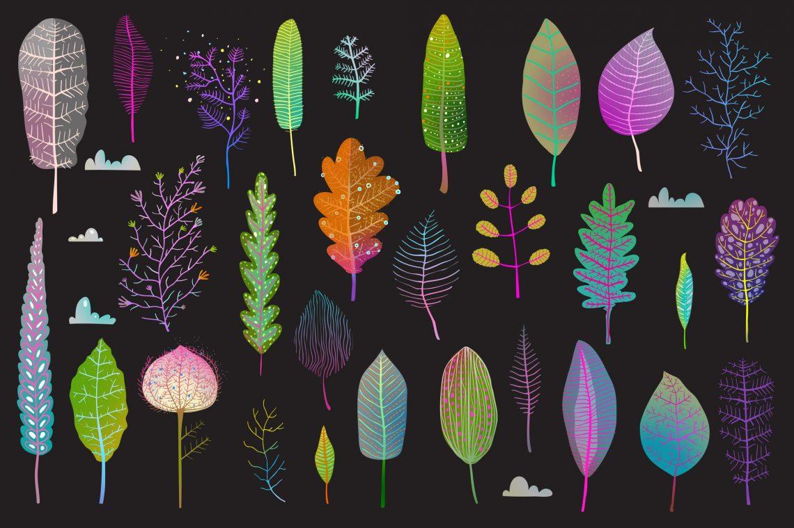 stock illustration Leaf flowers clipart set isolated on dark background