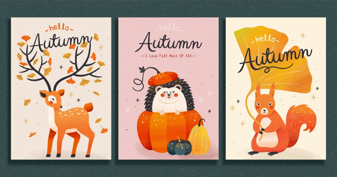 stock illustration Collection of cute forest animal illustrations in trendy hand drawn style