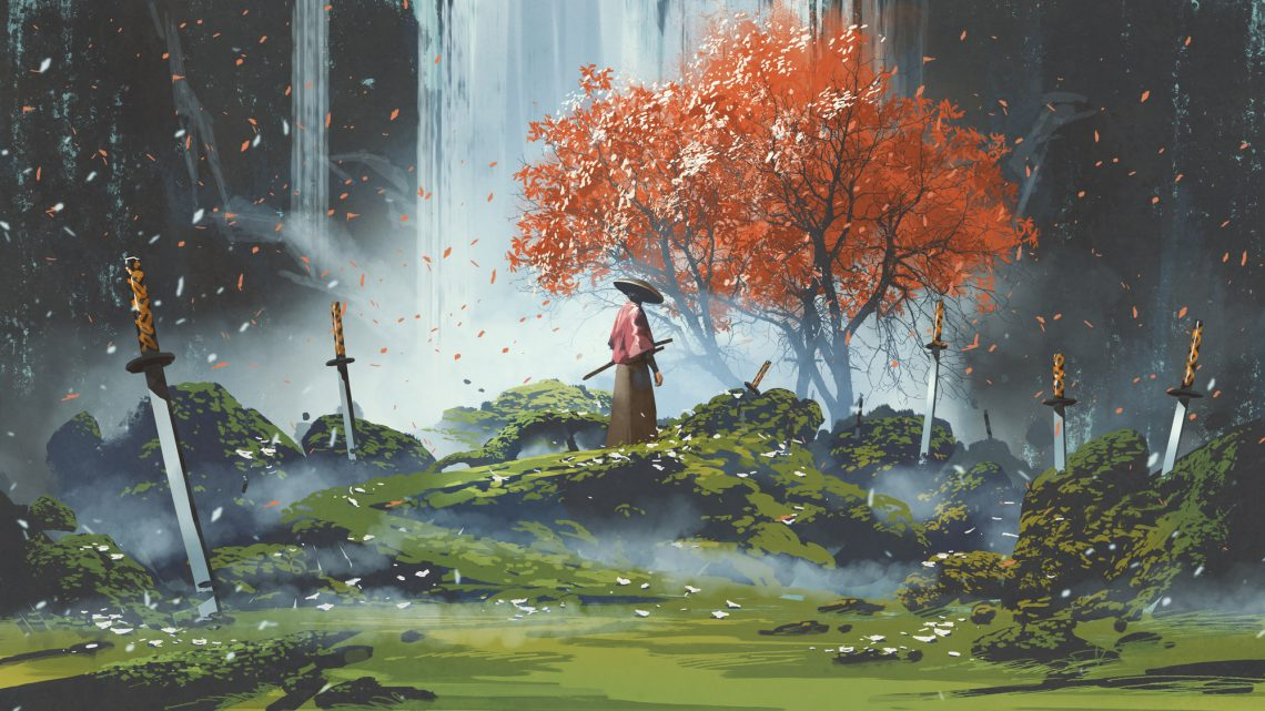 stock illustration samurai standing in waterfall garden with swords on the ground