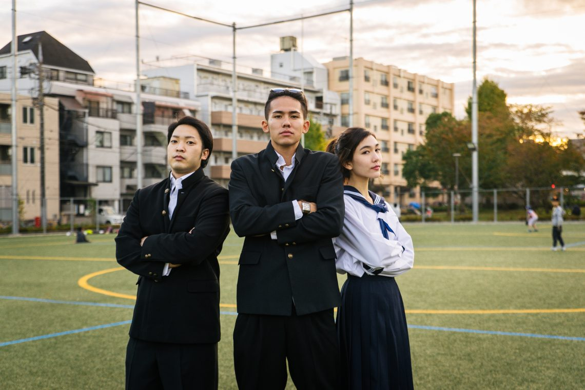 asian students with school uniform stock photo
