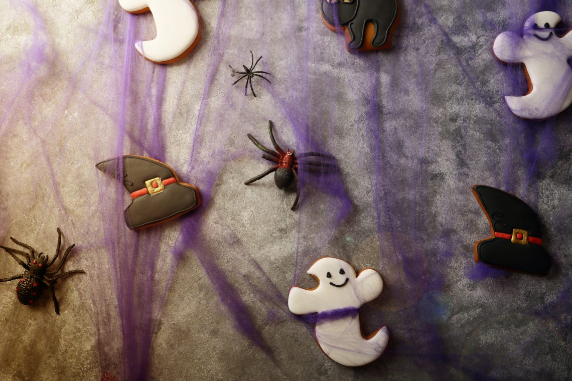 Halloween cookies and decorations stock photo