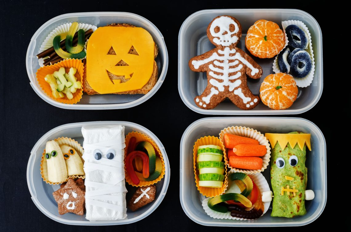 stock photo lunch boxes for children in the form of monsters for Halloween