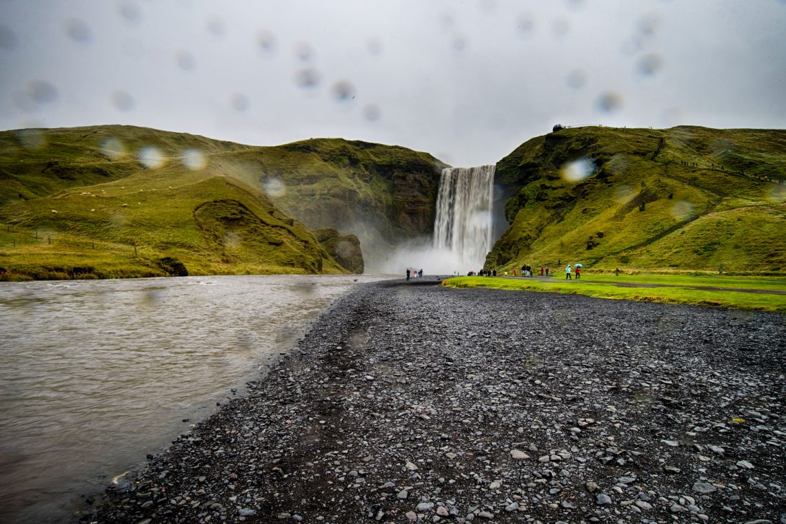 Skogafoss waterfall in a rainy day in Iceland stock photography